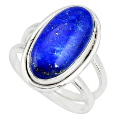6.83cts natural blue lapis lazuli 925 silver solitaire ring size 7 r27155