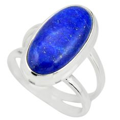 6.58cts natural blue lapis lazuli 925 silver solitaire ring size 7 r27160