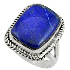 13.84cts natural blue lapis lazuli 925 silver solitaire ring size 7 r28274