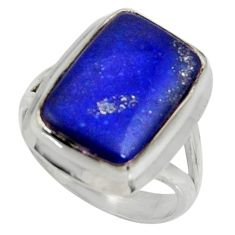 10.62cts natural blue lapis lazuli 925 silver solitaire ring size 7 r28278