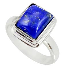 4.46cts natural blue lapis lazuli 925 silver solitaire ring size 7 r34163