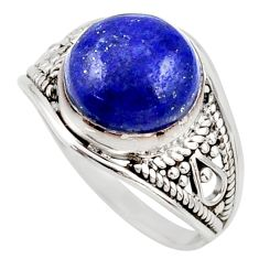4.62cts natural blue lapis lazuli 925 silver solitaire ring size 7 r35432
