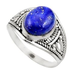 4.18cts natural blue lapis lazuli 925 silver solitaire ring size 7 r35490