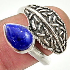 2.52cts natural blue lapis lazuli 925 silver solitaire ring size 7 r37097