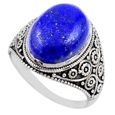 5.87cts natural blue lapis lazuli 925 silver solitaire ring size 7 r54630