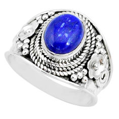 3.19cts natural blue lapis lazuli 925 silver solitaire ring size 7 r74688