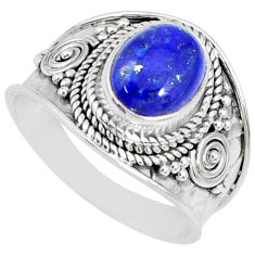 3.19cts natural blue lapis lazuli 925 silver solitaire ring size 7 r74702