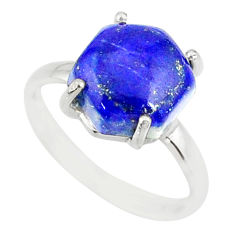 4.86cts natural blue lapis lazuli 925 silver solitaire ring size 7 r81938