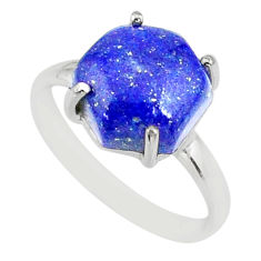 4.84cts natural blue lapis lazuli 925 silver solitaire ring size 7 r81939