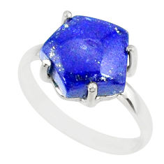 4.91cts natural blue lapis lazuli 925 silver solitaire ring size 7 r81956