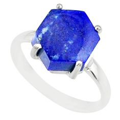 4.86cts natural blue lapis lazuli 925 silver solitaire ring size 7 r81957