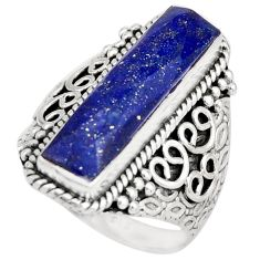 6.53cts natural blue lapis lazuli 925 silver solitaire ring size 8 r21375