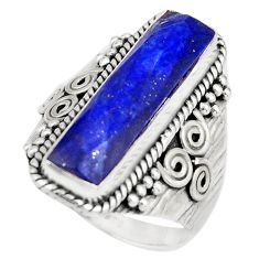 6.55cts natural blue lapis lazuli 925 silver solitaire ring size 8 r21376