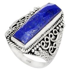 6.70cts natural blue lapis lazuli 925 silver solitaire ring size 8 r21377