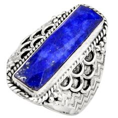 6.53cts natural blue lapis lazuli 925 silver solitaire ring size 8 r21378