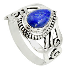 2.43cts natural blue lapis lazuli 925 silver solitaire ring size 8 r26243