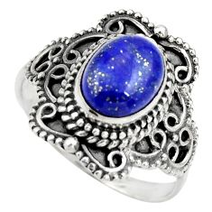 3.19cts natural blue lapis lazuli 925 silver solitaire ring size 8 r26969