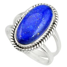 6.83cts natural blue lapis lazuli 925 silver solitaire ring size 8 r27145