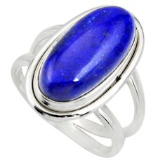 6.74cts natural blue lapis lazuli 925 silver solitaire ring size 8 r27151