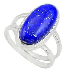 6.42cts natural blue lapis lazuli 925 silver solitaire ring size 8 r27153