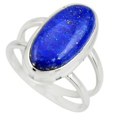 6.28cts natural blue lapis lazuli 925 silver solitaire ring size 8 r27159