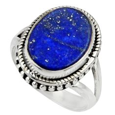 7.98cts natural blue lapis lazuli 925 silver solitaire ring size 8 r28263