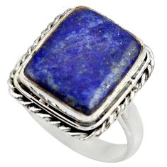 7.04cts natural blue lapis lazuli 925 silver solitaire ring size 8 r28758