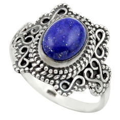 3.19cts natural blue lapis lazuli 925 silver solitaire ring size 8 r40486