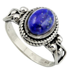 3.53cts natural blue lapis lazuli 925 silver solitaire ring size 8 r40942