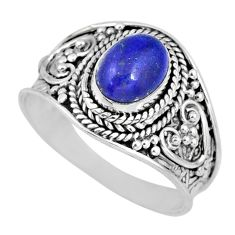 2.17cts natural blue lapis lazuli 925 silver solitaire ring size 8 r57972