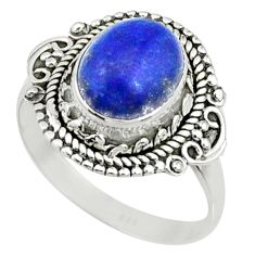 4.06cts natural blue lapis lazuli 925 silver solitaire ring size 8 r73382