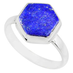 5.43cts natural blue lapis lazuli 925 silver solitaire ring size 8 r80102