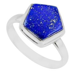 5.84cts natural blue lapis lazuli 925 silver solitaire ring size 8 r80106