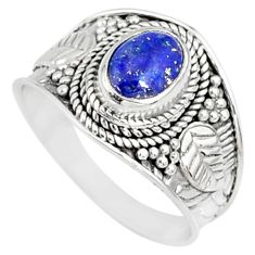 1.91cts natural blue lapis lazuli 925 silver solitaire ring size 8 r81434