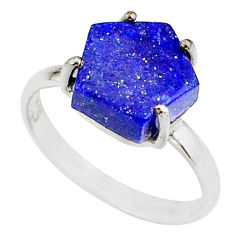 5.13cts natural blue lapis lazuli 925 silver solitaire ring size 8 r81877