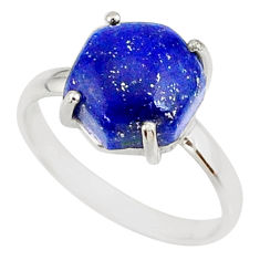 5.13cts natural blue lapis lazuli 925 silver solitaire ring size 8 r81895