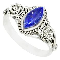 2.43cts natural blue lapis lazuli 925 silver solitaire ring size 8 r82126