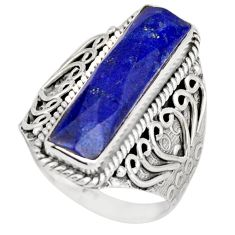 6.67cts natural blue lapis lazuli 925 silver solitaire ring size 9 r21380