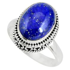 6.62cts natural blue lapis lazuli 925 silver solitaire ring size 9 r26322