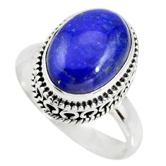 6.57cts natural blue lapis lazuli 925 silver solitaire ring size 9 r26327