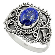 3.34cts natural blue lapis lazuli 925 silver solitaire ring size 9 r26947
