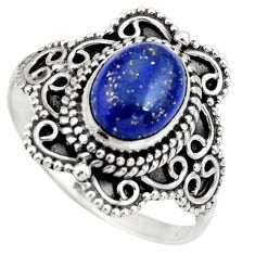 3.05cts natural blue lapis lazuli 925 silver solitaire ring size 9 r26968