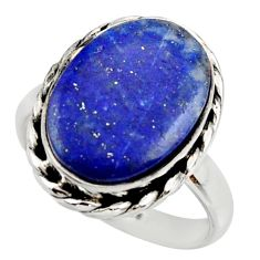 12.34cts natural blue lapis lazuli 925 silver solitaire ring size 9 r28754