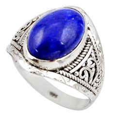 6.38cts natural blue lapis lazuli 925 silver solitaire ring size 9 r35395