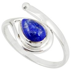 2.28cts natural blue lapis lazuli 925 silver solitaire ring size 9 r37915