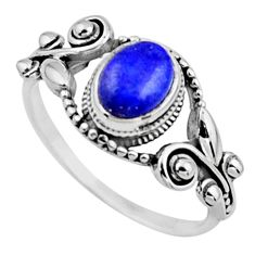 1.94cts natural blue lapis lazuli 925 silver solitaire ring size 9 r54531