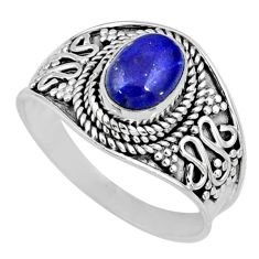 2.09cts natural blue lapis lazuli 925 silver solitaire ring size 9 r57979