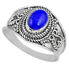 1.95cts natural blue lapis lazuli 925 silver solitaire ring size 9 r58606