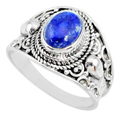 3.19cts natural blue lapis lazuli 925 silver solitaire ring size 9 r74681