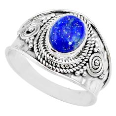 3.19cts natural blue lapis lazuli 925 silver solitaire ring size 9 r74682